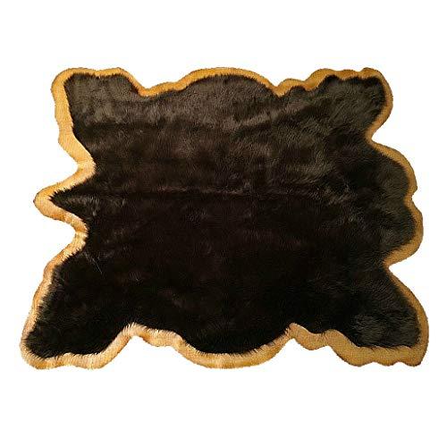 (Fur Accents Brown Buffalo Area Rug with Border Edge - Hide Pelt with Tan Faux Leather Trim - Bear Skin - Brown Shag - Tan Trim (5'x6'))