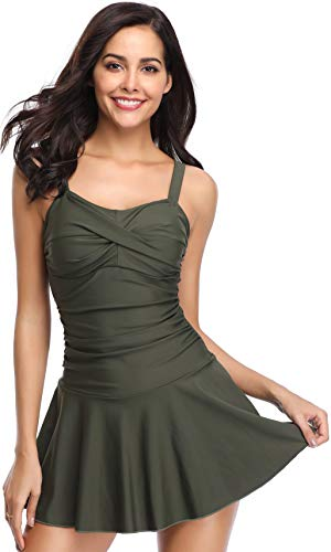 SHEKINI Women's Crossover Ruched Skirt One Piece Swimdress Swimsuit Bathing Suit (Army Green, Medium)