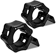 Navaris 2X Weightlifting Barbell Clamp Collar - Anti-Slip Quick Release Pair of Locking Clamps for Cross Train