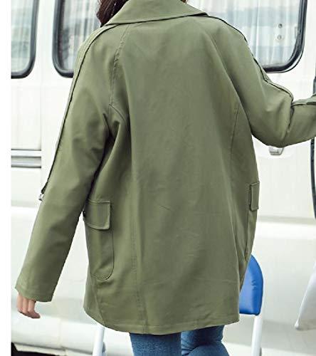 Colore Doppio Mogogowomen Cappotto Petto Solido Militare Sciolto Aprire Fronte Verde Selvaggio Avvolgente HnWw7q1WF4