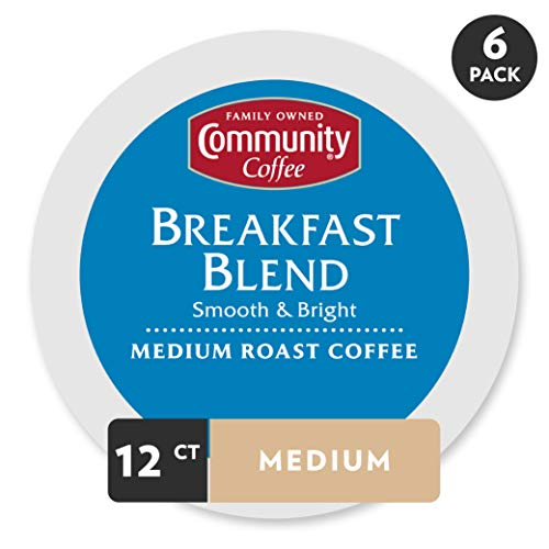 Community Coffee Breakfast Blend Medium Roast Single Serve, 72 Ct Box, Compatible with Keurig 2.0 K Cup Brewers, Full Body Bold Taste, 100% Arabica Coffee Beans ()