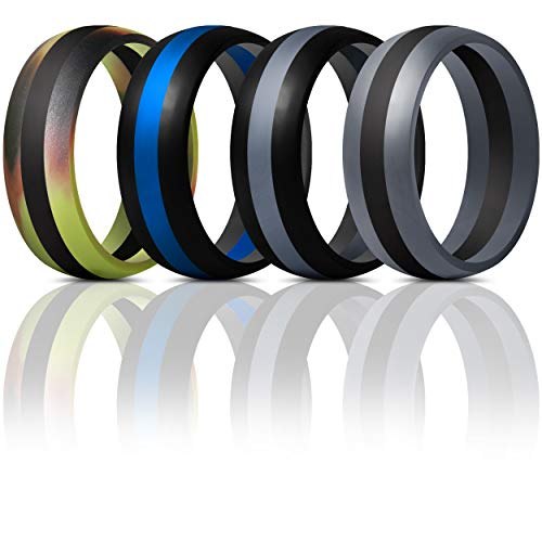 ThunderFit Mens Silicone Rings Wedding Bands - 4 Pack Classic & Middle Line (Camo Middle Black, Black Middle Dark Grey, Dark Grey Middle Black, Black Middle Blue, 11.5-12 (21.3mm))