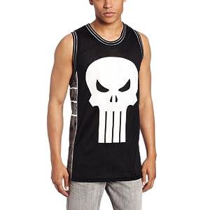 Marvel Men's Punisher Castle Basketball Jersey Shirt, Black/Charcoal, Medium