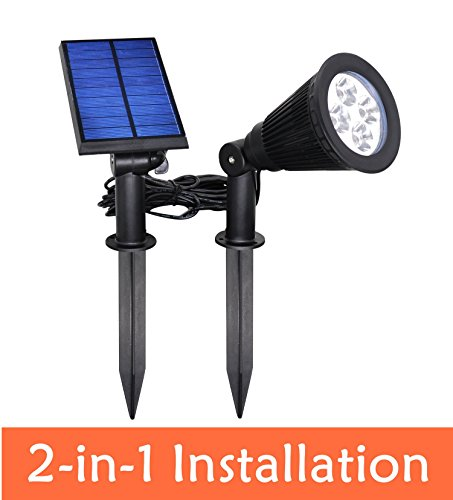 [New Upgraded Version]YINGHAO Solar Powered LED Spot Light 2 in 1 Installation IP44 Waterproof Separated Panel and Light, Outdoor Landscape Lighting Waterproof Solar Wall Light Security Night Lights (Solar Outdoor Spot Lights)