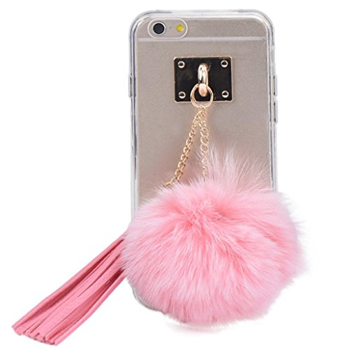 oft Transparent TPU Protect Phone With Fur Ball For iPhone 6 plus/6S plus 5.5 Inch (Pink) (1aaa Cell)