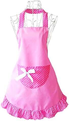 Hyzrz Lovely Cheap Funny Aprons Pink Girls Women Cupcake Shop Fashion Apron with Pocket