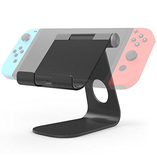 MoKo Stand for Nintendo Switch, Compact 210 Degree Multi-Angle Rotatable Aluminum Alloy Desktop Cradle Holder Display Playstand for Nintendo Switch, Black ()