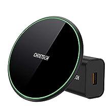 CHOETECH 15W Cargador Inalámbrico Rápido, 15W/10W/7.5W Qi Wireless Charger con QC 3.0 Adapter, 7.5W para iPhone SE 2020/11/11 Pro/XS/XR/X/8, 10W para Galaxy S20/S10/S9/S8/Note10/9, 15W para LG Sony