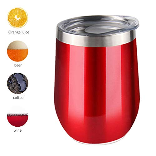 Sivaphe Travel Coffee Mugs Stainless Steel Wine Tumbler with Lid Double Wall Vacuum Insulated Thermal Drinking Cups for Coffee Cocktails Ice Cream (12OZ Red)