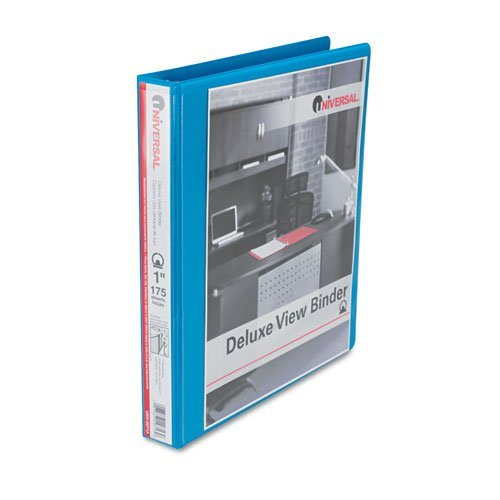 12 Universal Deluxe Round Ring Vinyl View 3-Ring Binders, 1 Capacity, Light Blue, EA - UNV20713