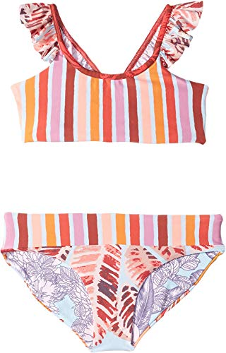 - Maaji Little Girls' Flutter Sleeve Bikini Swimsuit Set, Rainbow Bay Red Stripe, 6