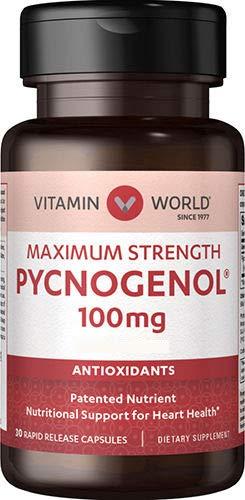 Vitamin World Pycnogenol 100 mg 30 Capsules, French Maritime Pine Bark Extract, Antioxidant, Rapid-Release, Gluten Free by Vitamin World