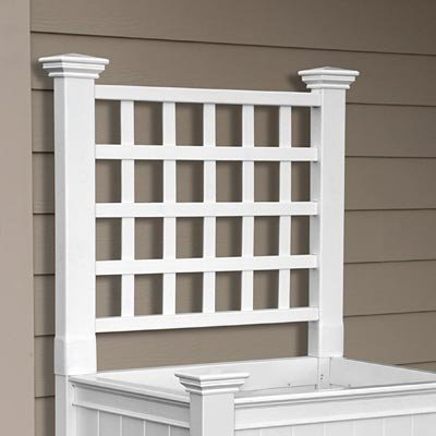 New England Cambridge Raised Planter Trellis, White, 34'' H by New England Arbors