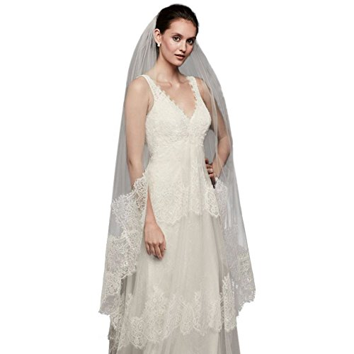 Eyelash Lace-Edge Walking Veil Style MSV1189, White by David's Bridal