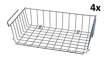 Einzigartig 4er SET Schrankkörbe zum Einhängen - 46 x 25 - Metall - grau  TC62