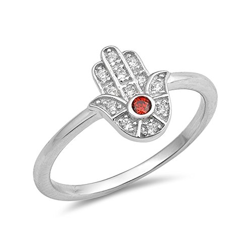 .925 Sterling Silver Red Cubic Zirconia Jewish Hamsa Stackable Ring ()