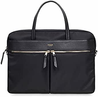 "Knomo Mayfair Hanover, 14"" Slim Leather Laptop Briefcase, with RFID Pocket, Black"