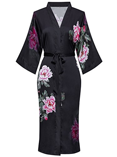 ExpressBuyNow Silk Kimono Robes for Women Long - Watercolor Floral