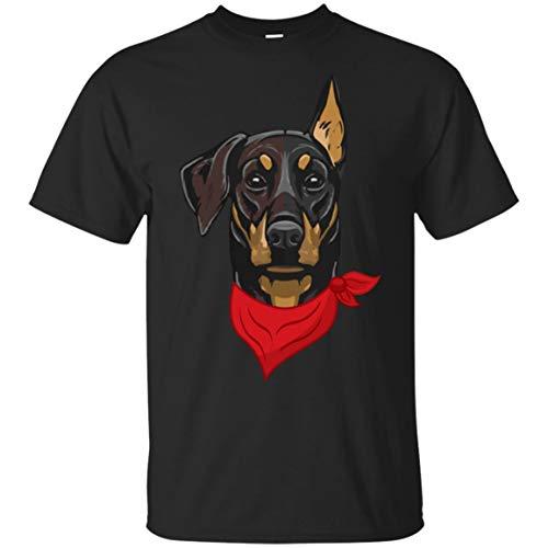 Doberman Pinscher Red Blue Bandana Wear Dog Lover Gift Shirt - Unisex Tshirt ()