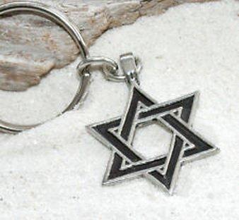 Blazers Jewelry 1985 - JEWISH STAR OF DAVID Judaica Pewter KEYCHAIN Key Chain Ring