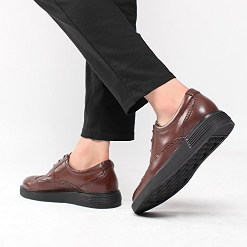 Hommes Derby Cuir Platform Lacets Oxford Brogues Marron Bw6qfBrK