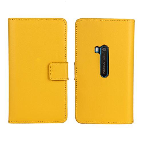 Lumia 920 Case, iCoverCase Genuine Leather Magnetic Flip [Card Slot] Wallet Cover Kickstand Case for Nokia Lumia 920 (Yellow) Photo #4