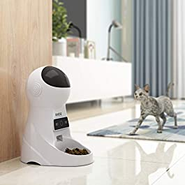 Iseebiz Automatic Pet Feeder, Cat Dog Food Dispenser 3 Liter Hopper, 4 Meals with Timer Programmable, Portion Control, Voice Recorder, Food Dispense Voice Remind, IR Detect, for Medium Small Cats Dogs