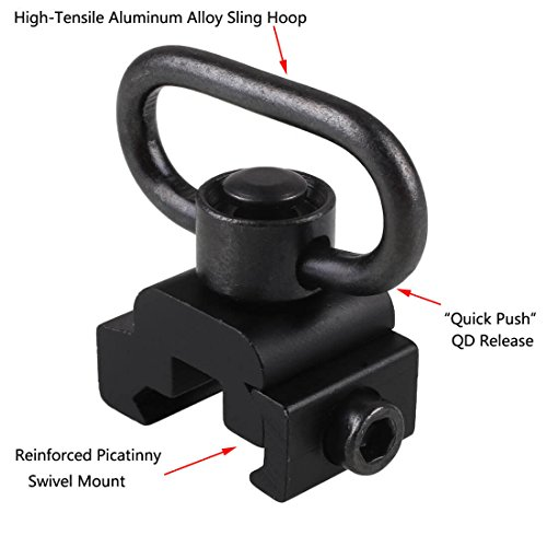 Xage QD Sling Swivel Mount - with Base Rail Mounted Push Button (Sling Attachment for Picatinny/Weaver) ()
