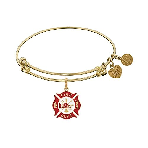 JewelryWeb Non-Antique Yellow Stipple Finish Brass with Red White Enamel Fire-Fighter Angelica Bangle Bracelet -  RCB316529