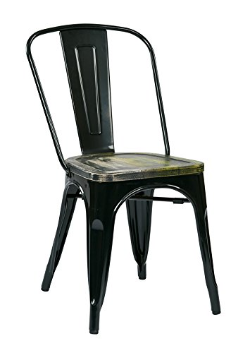 Office Star Bristow Black Metal Frame Chair with Vintage Wood Seat, Ash Cameron Finish, 4-Pack ()
