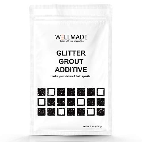 Glitter Grout Tile Additive 150g/5.3oz Glitter for Wall/Floor Tile Grout-DIY Home Wet Room Bathroom Kitchen Sparkle, Add/Mix with Epoxy Resin or Cement Based Grout (150g/5.3oz, Black) by Wellmade (Image #2)
