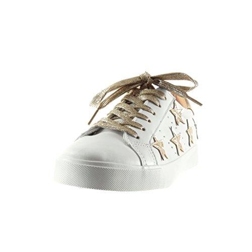 Angkorly Damen Schuhe Sneaker - Stern - Bestickt Flache Ferse 2.5 cm Champagner