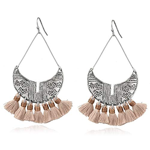 ic Chandelier Tassel Hoop Earrings Shield Paddle Lightweight Statement Earrings for Women (Beige) ()