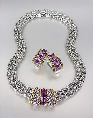 Designer Style Silver Cable Purple Amethyst CZ Crystals Barrel Mesh Necklace Set (Amethyst Barrel)