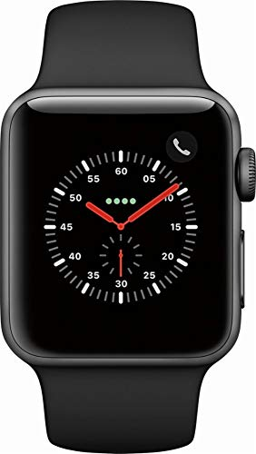 Apple Watch Series 3 (GPS + Cellular, 38MM) - Space Gray Aluminum Case with Gray Sport Band (Renewed)