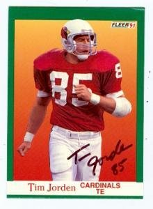 Tim Jorden autographed football card (Phoenix Cardinals) 1991 Fleer #341 - NFL Autographed Football Cards