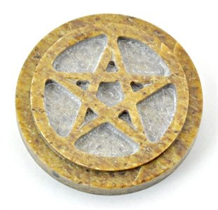"""Pentacle Altar Tile Soapstone - 3""""D ~ with NICE 1/2"""" Thickness"""
