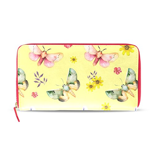 vipsk-yellow-background-colorful-butterfly-women-pu-clutch-wallet-cell-phone-zipper-around-long-purs