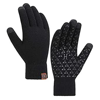 Men's Women's Winter Knit Touch Screen Anti-Slip Gloves with Thermal Wool Lining