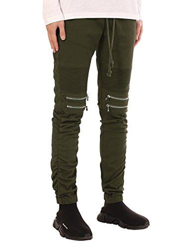 JD Apparel Mens Slim Fit Distressed Biker Motor Joggers With Shirring Bottom Pants 5XL Olive ()