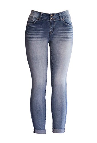 WAX JEAN -CROP ROLL CUFF TWO BUTTON SKINNY JEANS (13, Light)
