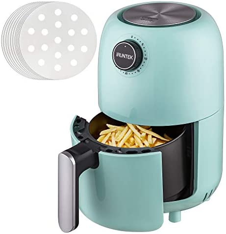 iRUNTEK Mini Compact Air Fryer, 1.3 Quart Electric Small Air Fryer Oven Cooker, Personal Oil-less healthy Fryer Pot with Timer Controls and Non Stick Basket, Auto Shut-off, 800W, Aqua