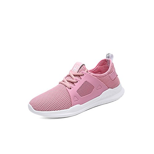 Zapatos de Mujer 2018 Zapatillas de Deporte Ocasionales Zapatos de Punto Malla de Malla de Malla Zapatillas de Deporte (Color : Rosado, tamaño : 40) Rosado