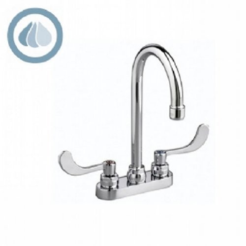 American Standard 7502.140.002 Monterrey 1.5 Gpm Centerset Faucet with Gooseneck Spout, VR Metal Lever Handles and Grid Drain, Polished Chrome