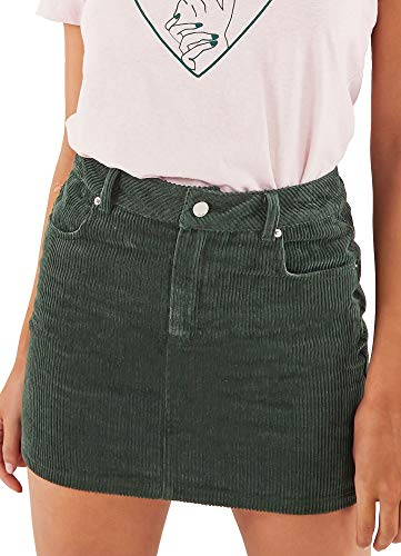 (just quella Women Slim fit Corduroy A-line Short Skirt High Waist Boydon Mini Skirt (S, Green) )
