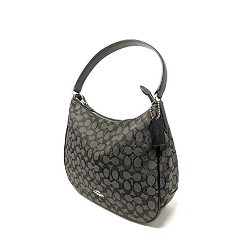 Coach Zip Shoulder Bag in Signature fabric Jacquard (Smoke|Black) (Fabric), Medium