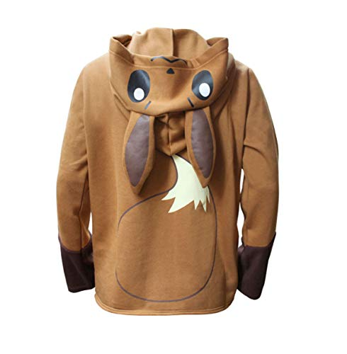 FJMM Unisex Adult Brown Eevee Costume Sweatshirt Cosplay Hooded Jacket Zipper Up 2XL ()