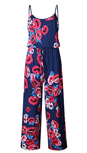 NEWCOSPLAY Women's Floral Print Sleeveless Off Shoulder Wide Leg Pants Jumpsuit Romper (L, 0901navy Blue) by NEWCOSPLAY