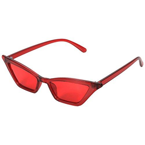 mujer Gafas de lujo de Gafas rojo de Gafas gato vintage de de sol de sol de S17077 pequenas ojo retro Negro senora Gafas de sol SODIAL negras 6UZAFU