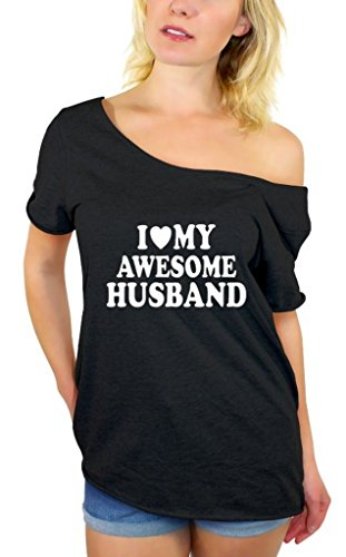 Awkwardstyles I Love My Awesome Husband Off Shoulder Tops T-Shirt + Bookmark L Black by Awkward Styles (Image #4)